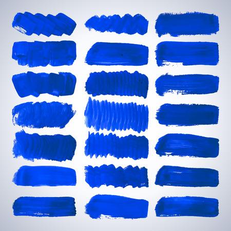 Set of vector blue grunge brush strokes for design. Vector