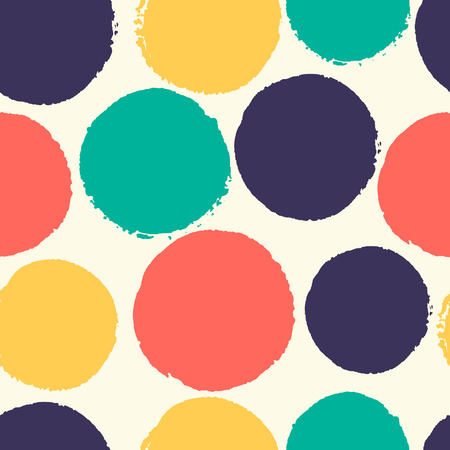 Seamless pattern of watercolor polka dots. Abstract background. Soft colors.