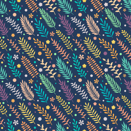 Seamless pattern with leaves. Natural background. Can be used in fabric design for making of clothes, accessories; creating decorative paper, wrapping, envelope; in web design, wallpaper, etc. Vector