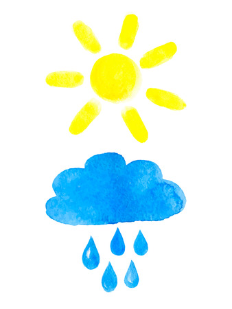 Set of sun and rainy cloud. Watercolor, vector illustration.