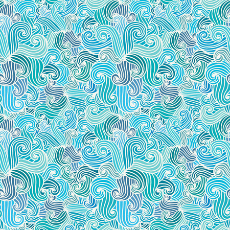 Seamless hand drawn pattern. Wavy background. Sea theme. Aquamarine curly waves. Can be used to fabric design, wallpaper, decorative paper, web design, etc. Vector