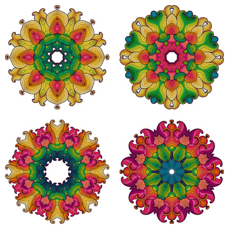 Set of four mandalas. Beautiful hand drawn flowers. Ethnic lace round ornamental pattern. Can be used to fabric design, decorative paper, web design, embroidery, tattoo, etc. Vector