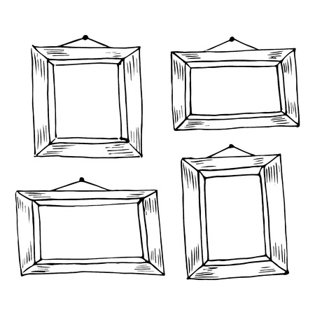 Set of hand drawn doodle frames. Black sketch on the white background. Vector illustration. Vector