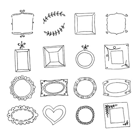 Set of hand drawn doodle frames. Black sketch on the white background. Vector illustration. Vector