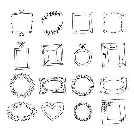 Set of hand drawn doodle frames. Black sketch on the white background. Vector illustration.