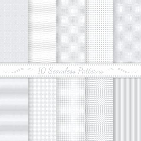 Ensemble de dix modèles sans couture subtiles monochromes classiques Échantillons de modèles sans couture inclus dans le fichier Vecteurs