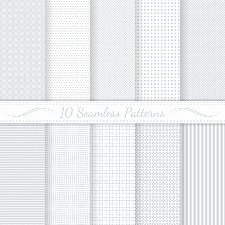 Set of ten subtle seamless patterns  Monochrome  Classic  Swatches of seamless patterns included in the file  Ilustração