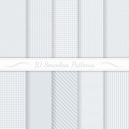 10 微妙なシームレス パターン ファイルに含まれるシームレスなパターンの白黒古典的なスウォッチのセットします。