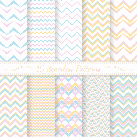 Set of ten modern seamless chevron patterns  Soft  colors  Swatches of seamless patterns included in the file  Vector