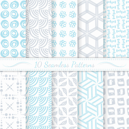Set of ten seamless modern patterns  Gray and blue soft  colors  Swatches of seamless patterns included in the file