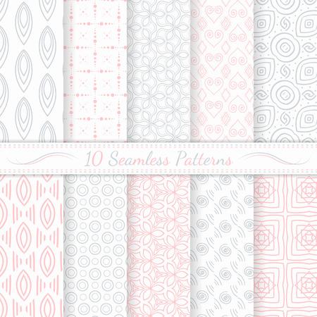 Conjunto de diez patrones modernos sin fisuras grises y colores suaves rosados ??Muestras de patrones sin fisuras incluidos en el archivo Foto de archivo - 29118794