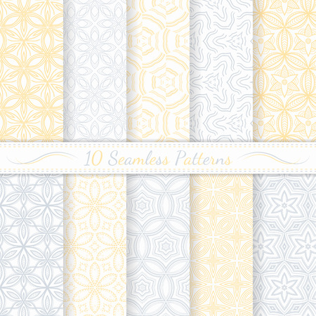 Set of ten seamless modern patterns  Gray and yellow soft  colors  Swatches of seamless patterns included in the file