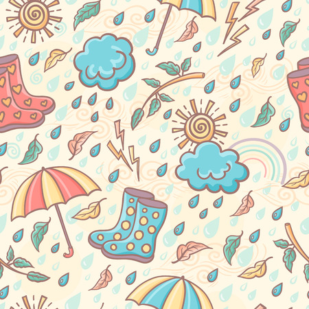 Seamless hand drawn weather pattern in retro style. Soft colors. Vector