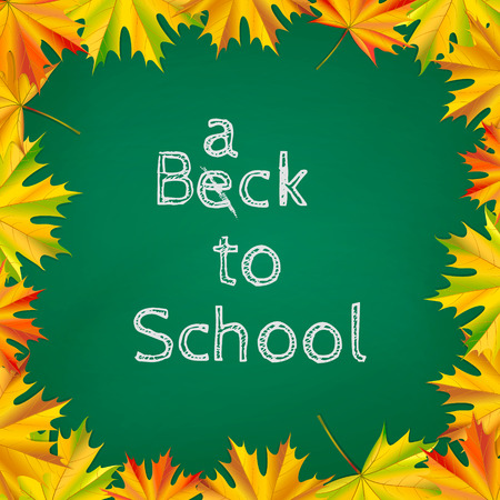 semester: Back to school background with chalkboard and autumn leaves  Vector illustration