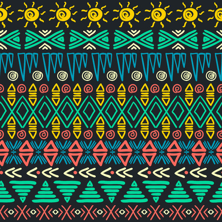 Aztec background. Tribal striped seamless pattern. Vector illustration.