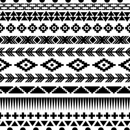 american indian aztec: Ethnic seamless pattern. Aztec black-white background. Vector illustration.