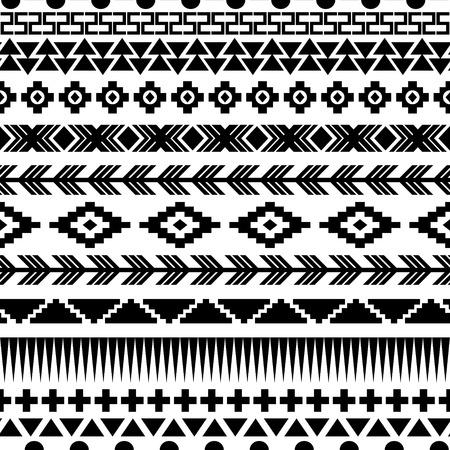 aztec art: Ethnic seamless pattern. Aztec black-white background. Vector illustration.