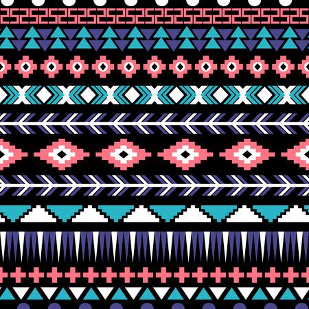 民族のシームレスなパターン。アステカ族の背景。ベクトル イラスト。  イラスト・ベクター素材
