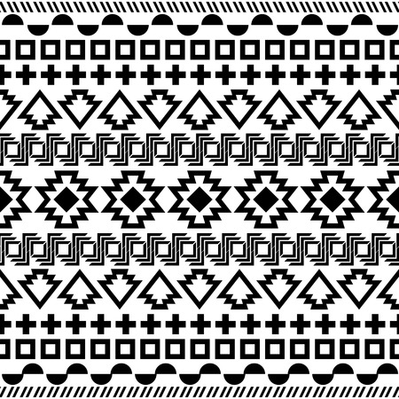 民族のシームレスなパターン。アステカの黒白い背景。ベクトル イラスト。