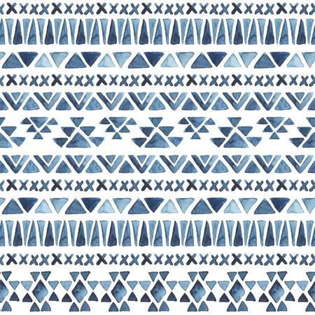水彩民族シームレス パターン。アステカの幾何学的な背景。手描き青パターン。現代の抽象的な壁紙。ベクトルの図。  イラスト・ベクター素材