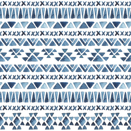 Watercolor ethnic seamless pattern. Aztec geometric background. Hand drawn blue pattern. Modern abstract wallpaper. Vector illustration.