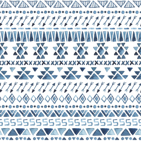 Watercolor ethnic seamless pattern. Aztec geometric background. Hand drawn blue pattern. Modern abstract wallpaper. Vector illustration. Vector