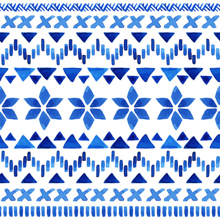Watercolor ethnic seamless pattern. Aztec geometric background. Hand drawn blue pattern. Scandinavian pattern. Modern abstract wallpaper. Vector illustration.