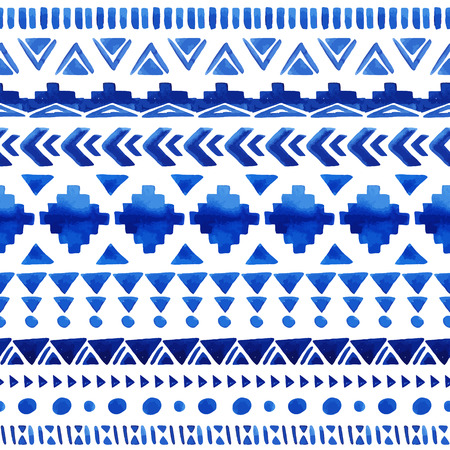 american culture: Watercolor ethnic seamless pattern. Aztec geometric background. Hand drawn blue pattern. Scandinavian pattern. Modern abstract wallpaper. Vector illustration.