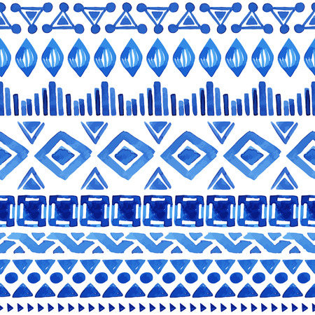 Watercolor ethnic seamless pattern. Aztec geometric background. Hand drawn blue pattern. Scandinavian pattern. Modern abstract wallpaper. Vector illustration. Vector