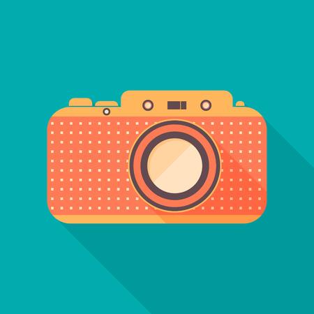 camera symbol: Retro camera icon. Background with old camera. Flat design, long shadows. Vector illustration. Illustration