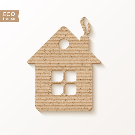 House with the texture of corrugated cardboard, isolated on white background. Vector illustration. Vector