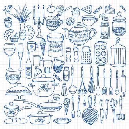 罫線入り用紙での手描きの調理器具のセット。キッチンの背景。落書きの厨房機器です。ベクトル イラスト。