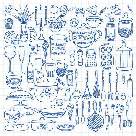 Set of hand drawn cookware on the lined paper. Kitchen background. Doodle kitchen equipments. Vector illustration. Vectores