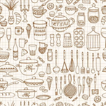 Naadloze patroon met de hand getekende kookgerei op de gelinieerd papier. Keuken achtergrond. Retro behang met doodle keuken apparatuur. Vector illustratie. Vector Illustratie