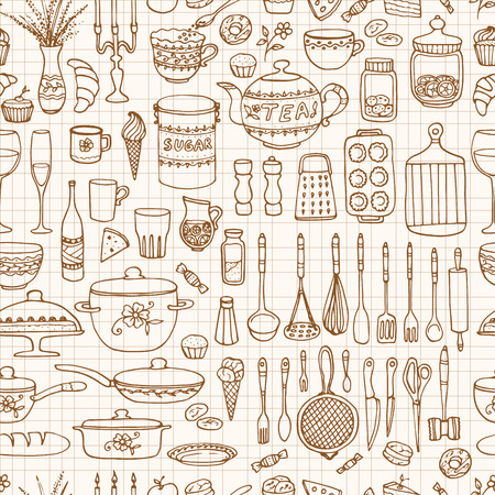 wall paper kitchen set of hand drawn cookware on the lined paper kitchen background