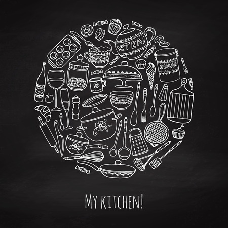 Set of hand drawn cookware on the chalkboard. Chalk kitchen background. Doodle kitchen equipments. Vector illustration.