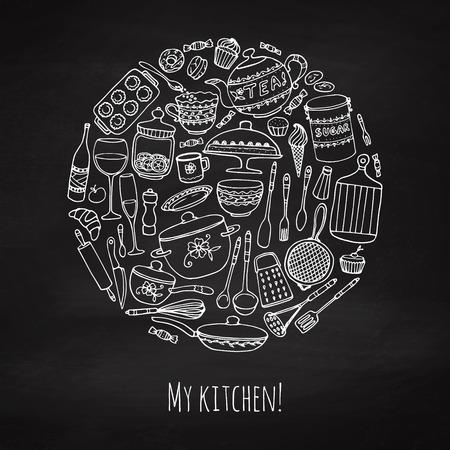 Set von Hand gezeichnet Kochgeschirr an die Tafel. Kreide Küche Hintergrund. Doodle Küchengeräte. Vektor-Illustration. Illustration