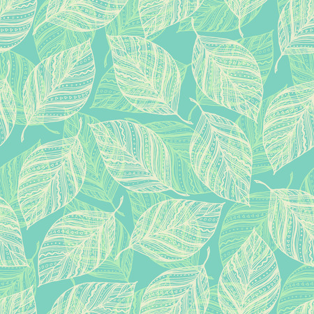 Seamless pattern with leaves. Sketch leaves, hand drawn natural background. Vector illustration.