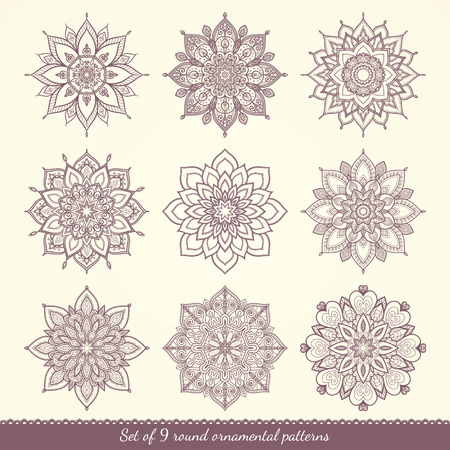 Set of nine ethnic ornamental floral patterns. Hand drawn mandalas. Lace circular ornaments. Vector illustration.