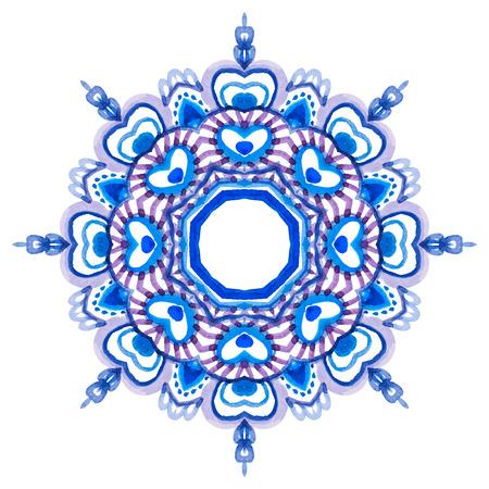 Watercolor hand drawn mandala. Lace circular ornament. Vector illustration. Vector