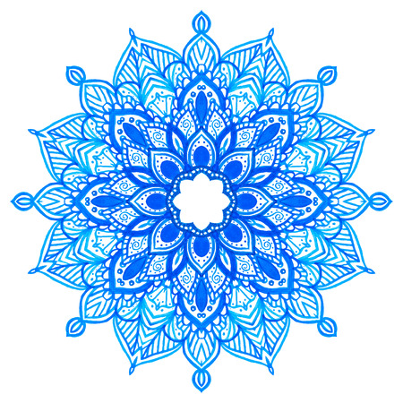 Watercolor hand drawn blue mandala. Lace circular ornament. Vector illustration.