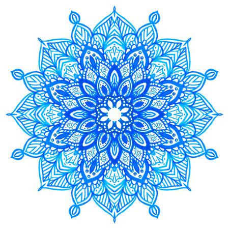 Watercolor hand drawn blue mandala. Lace circular ornament. Vector illustration. Vector