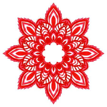 Watercolor hand drawn red mandala. Lace circular ornament. Vector illustration. Vector