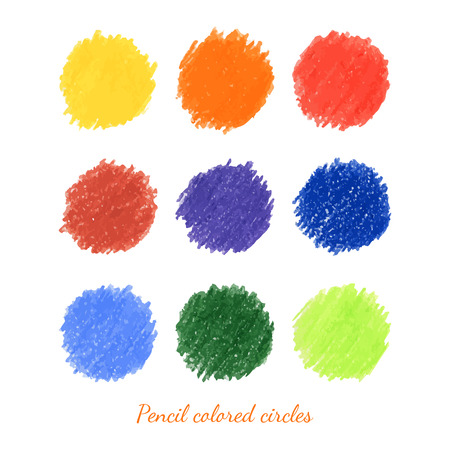 Set of colorful pencil dots. Circles. Vector illustration. Vector