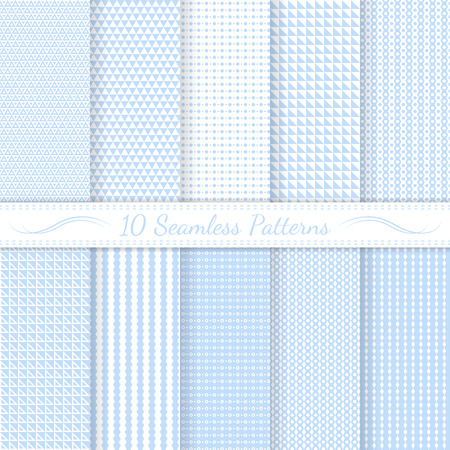 Set of ten subtle seamless patterns. Monochrome. Classic. Swatches of seamless patterns included in the file.