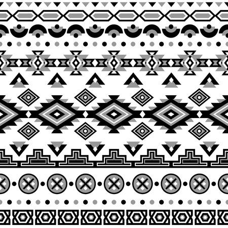 Ethnic seamless pattern. Aztec black-white background. Tribal ethnic navajo print. Modern abstract wallpaper. Vector illustration.