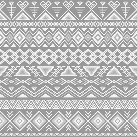 Ethnic seamless pattern. Aztec gray background. Tribal ethnic navajo print. Modern abstract wallpaper. Vector illustration.