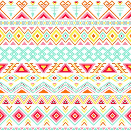 民族のシームレスなパターン。アステカ カラフルなストライプの背景。部族民族ナバホー人を印刷します。現代の抽象的な壁紙。柔らかな色。ベク