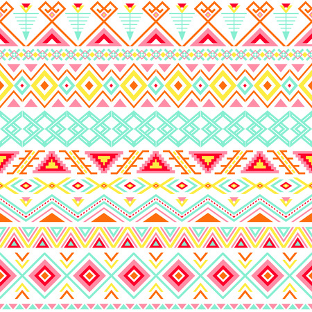 Ethnic seamless pattern. Aztec colorful striped background. Tribal ethnic navajo print. Modern abstract wallpaper. Soft colors. Vector illustration. Stock Illustratie