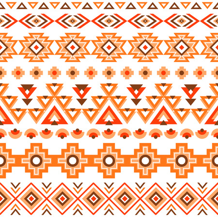 Ethnic seamless pattern. Aztec colorful striped geometric background. Tribal ethnic navajo print. Modern abstract wallpaper. Soft colors. Vector illustration. Ilustracja